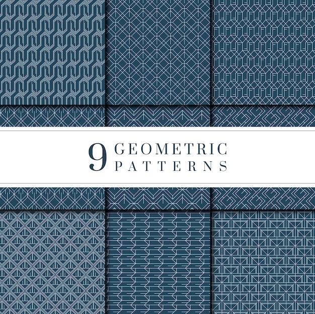 Indigo-kollektion mit gefärbten geometrischen mustern Kostenlosen Vektoren