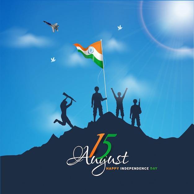 Indische armeesoldaten, die flagge auf berg für glückliche unabhängigkeitstagfeier wellenartig bewegen. Premium Vektoren