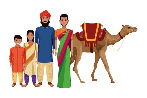 Indische asiatische orientalische kulturkarikatur Premium Vektoren