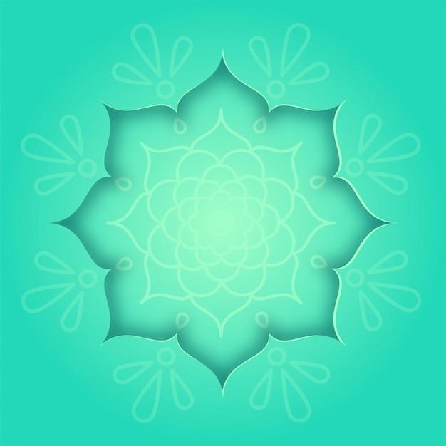 Indische designkarte mit grünem rangoli und mandala-musterkonzept Premium Vektoren