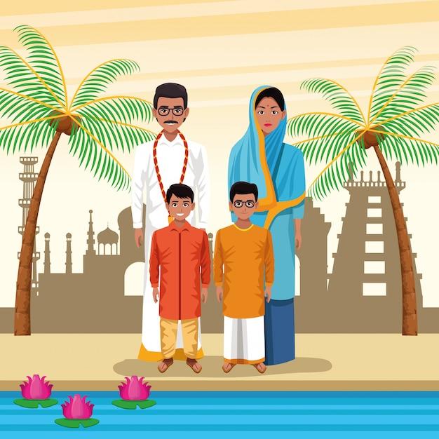 Indische ethnische leutekarikaturen in der stadt Kostenlosen Vektoren