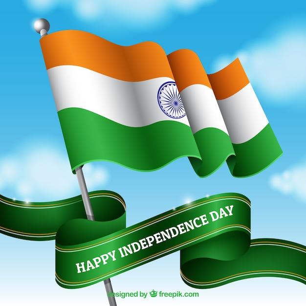 Indische fahne winken in den himmel Kostenlosen Vektoren