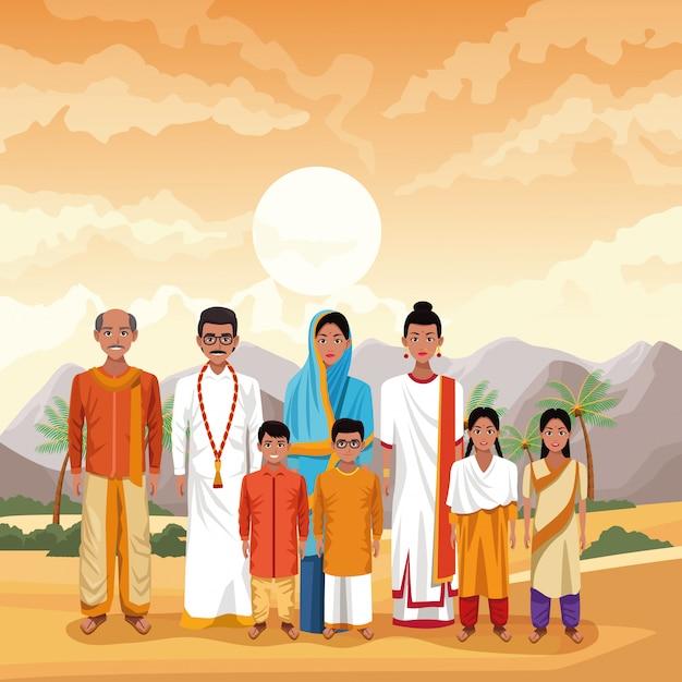 Indische familien-indien-karikatur Premium Vektoren
