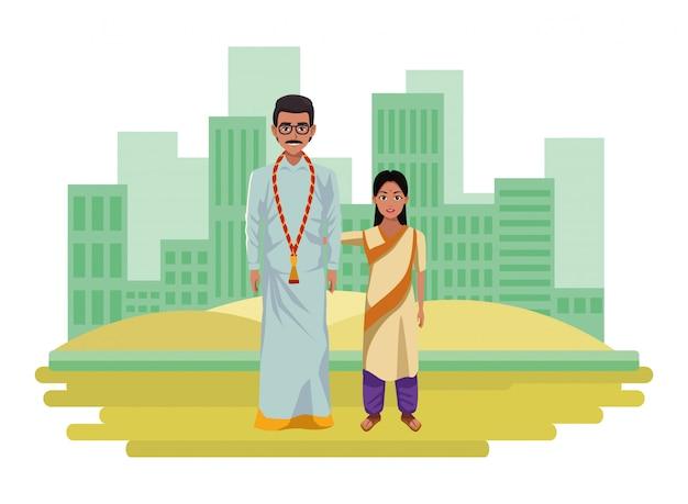 Indische familienavatara-zeichentrickfilm-figur Premium Vektoren