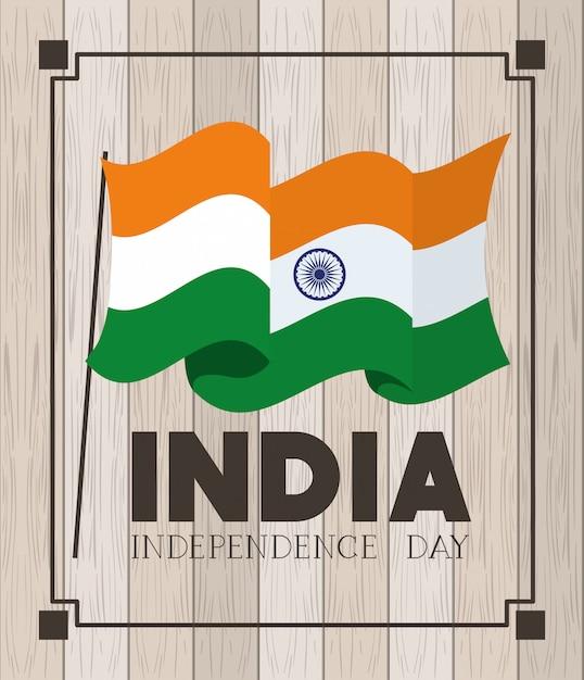 Indische flagge des unabhängigkeitstags mit hölzernem Kostenlosen Vektoren