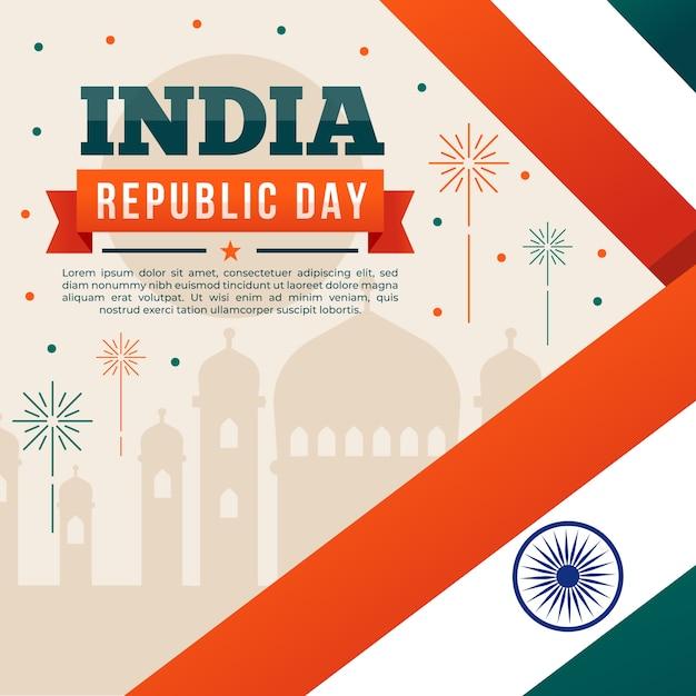 Indische flagge und taj mahal nationalfeiertag Kostenlosen Vektoren