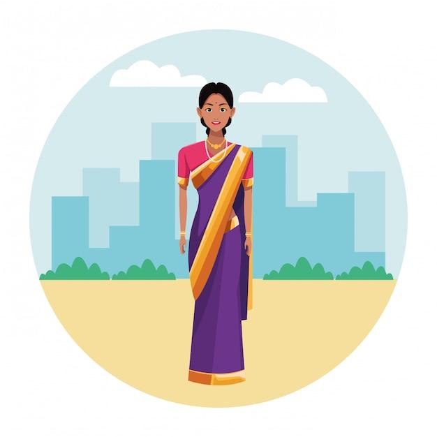 Indische frau, die traditionelle hinduistische kleidung trägt Premium Vektoren