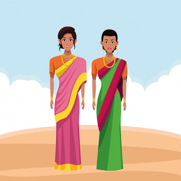 Indische frauen-avatar-cartoon-figur Premium Vektoren