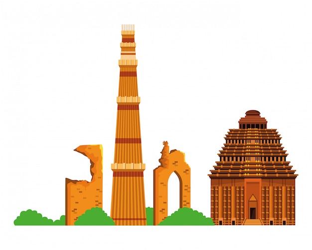 Indische gebäudedenkmal-ikonenkarikatur Premium Vektoren