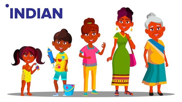 Indische generation weiblich Premium Vektoren