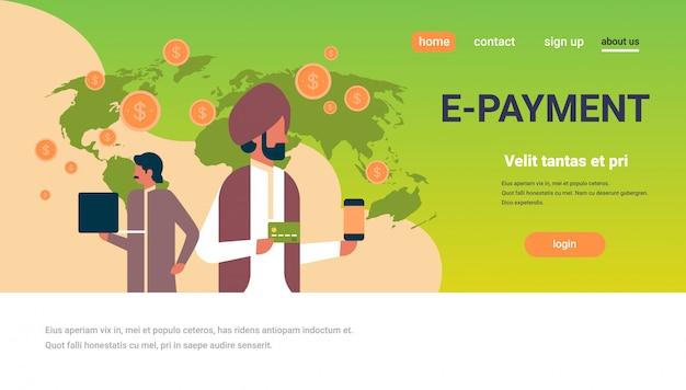 Indische geschäftsleute e-payment geldtransaktion banner Premium Vektoren