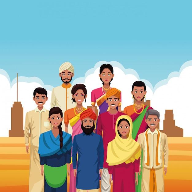 Indische gruppe der indien-karikatur Kostenlosen Vektoren