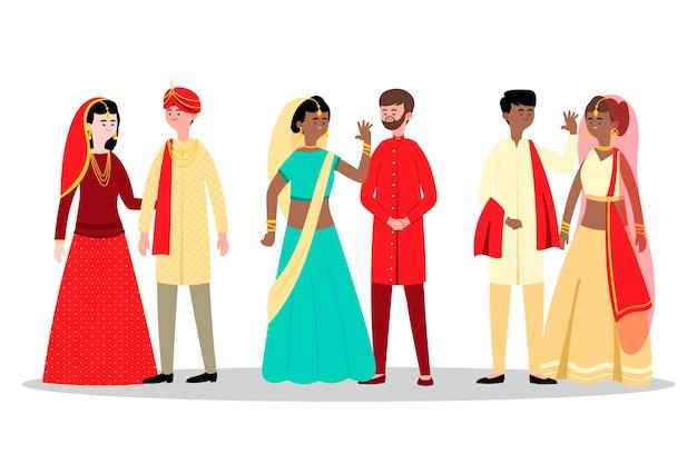 Indische hochzeitscharakter-sammlung Kostenlosen Vektoren