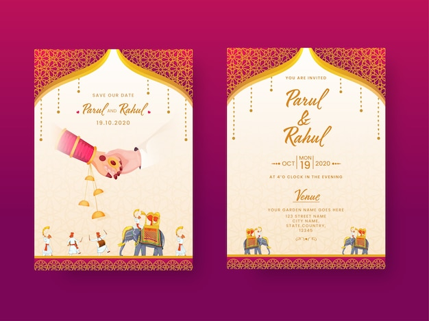 Indische hochzeitseinladungskarte, vorlagenlayout mit veranstaltungsortdetails in vorder- und rückansicht. Premium Vektoren