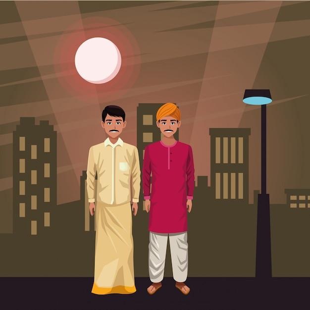 Indische mannavatara-zeichentrickfilm-figur Premium Vektoren