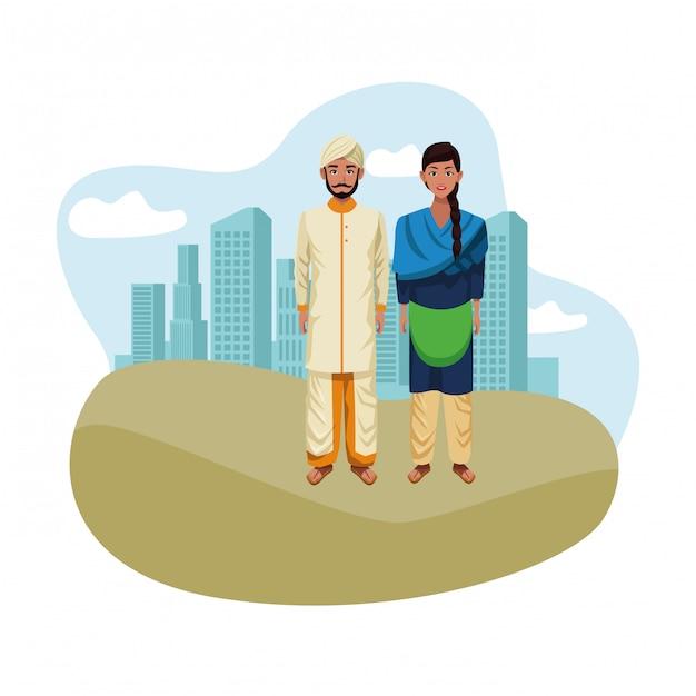 Indische paaravatara-zeichentrickfilm-figur Premium Vektoren