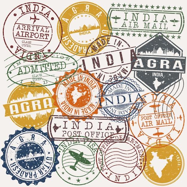 Indische passstempelsammlung Premium Vektoren