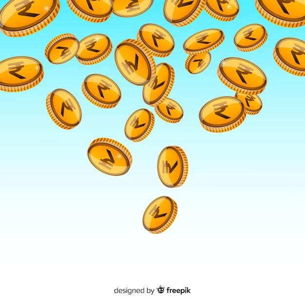Indische Rupie Münzen Fallen Download Der Kostenlosen Vektor