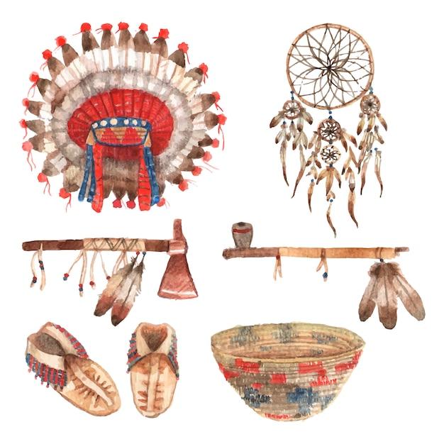 Indische stammes- amulette und haushaltsartikelansammlung des amerikanischen ureinwohners mit federkopfschmuck Kostenlosen Vektoren
