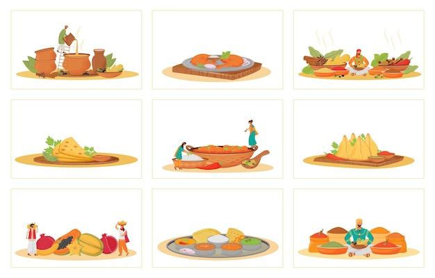Indische traditionelle mahlzeiten flaches konzept gesetzt. restaurant essen kochen und metaphern servieren. hinduistische köche und diener, tropische früchte und gewürzverkäufer 2d-zeichentrickfiguren Premium Vektoren