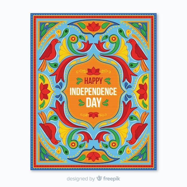 Indische unabhängigkeitstag-plakatschablone Kostenlosen Vektoren