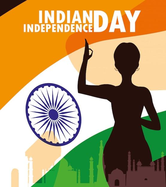 Indischer aufkleber des unabhängigkeitstags mit schattenbildfrau Premium Vektoren