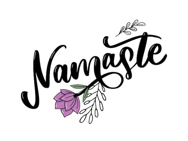 Indischer gruß namaste-beschriftung, hallo in der kalligraphischen hindi-t-shirt hand beschriftet. inspirierende typografie. Premium Vektoren