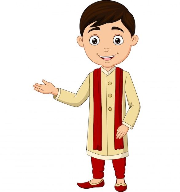 Indischer junge der karikatur, der traditionelles kostüm trägt Premium Vektoren