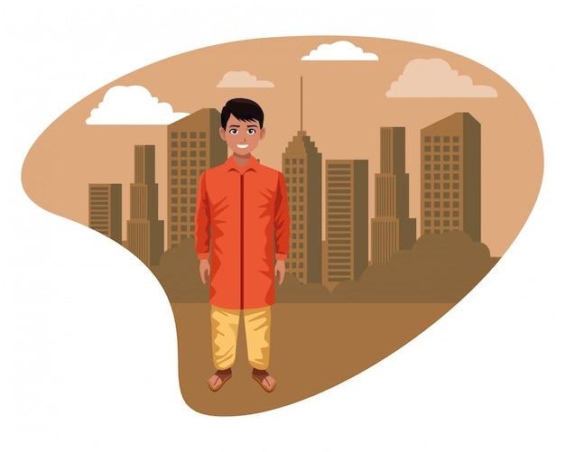 Indischer junge, der traditionelle hinduistische kleidung trägt Premium Vektoren