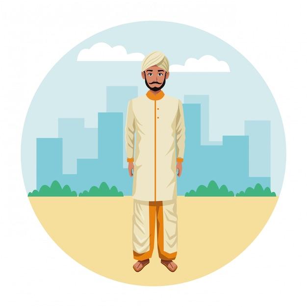 Indischer mann, der traditionelle hinduistische kleidung trägt Premium Vektoren