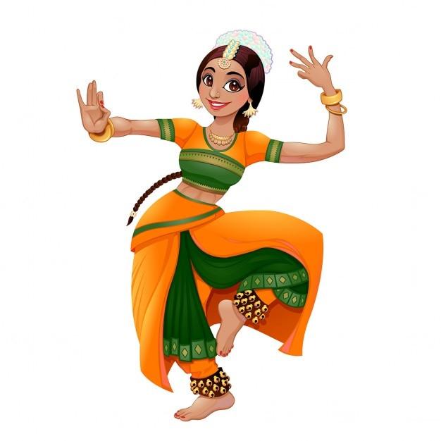 Indischer tänzer cartoon vektor isoliert charakter Kostenlosen Vektoren