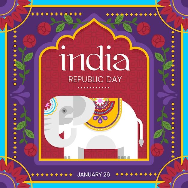 Indischer tag der republik der flachen art mit elefantillustration Kostenlosen Vektoren
