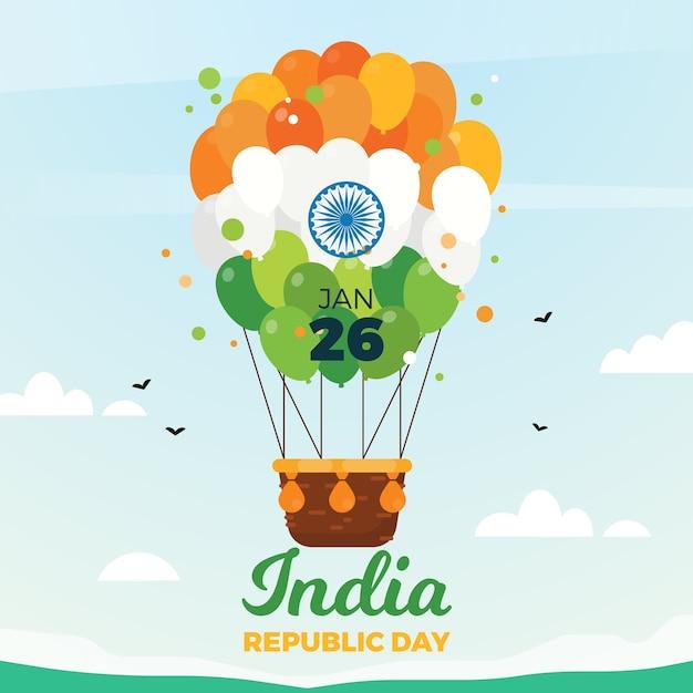 Indischer tag der republik des flachen designs Kostenlosen Vektoren