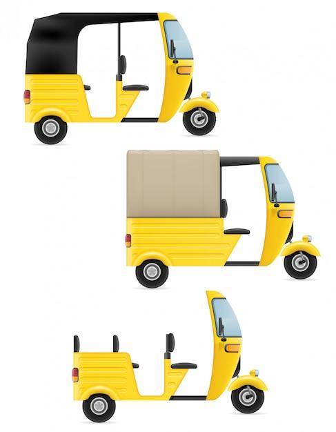 Indischer taxitransport der bewegungsrikscha tuk-tuk Premium Vektoren
