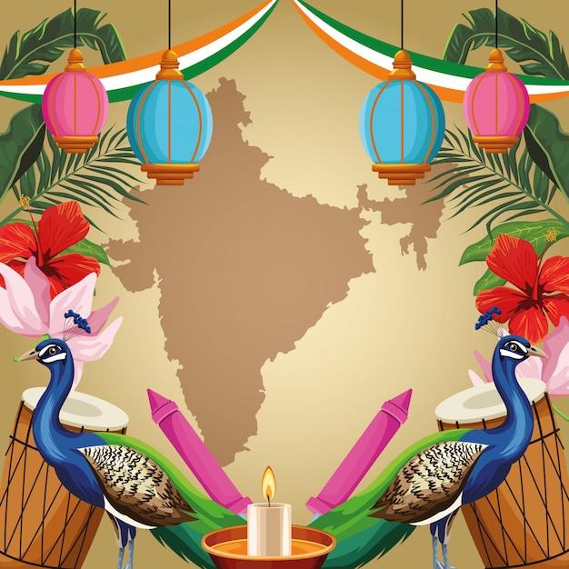 Indischer tourismus und reisen Premium Vektoren