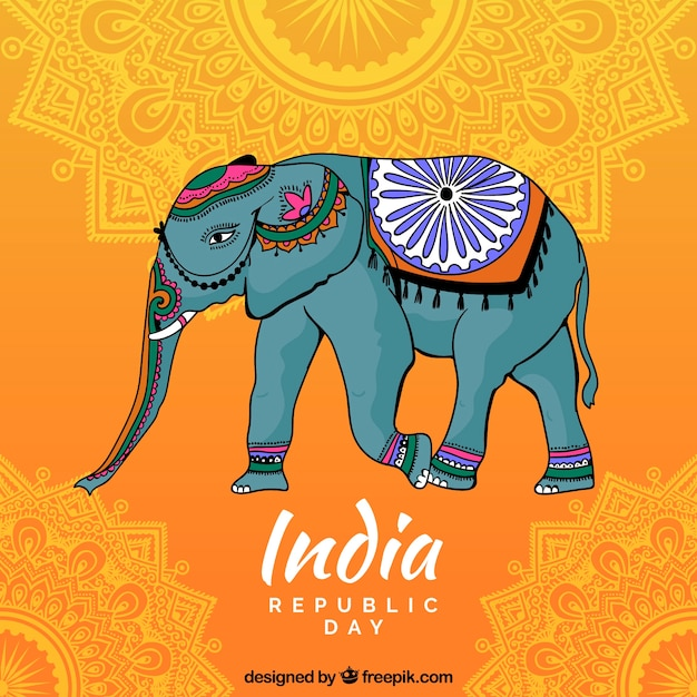 Indischer unabhängigkeitstaghintergrund mit dekorativem elefanten Kostenlosen Vektoren
