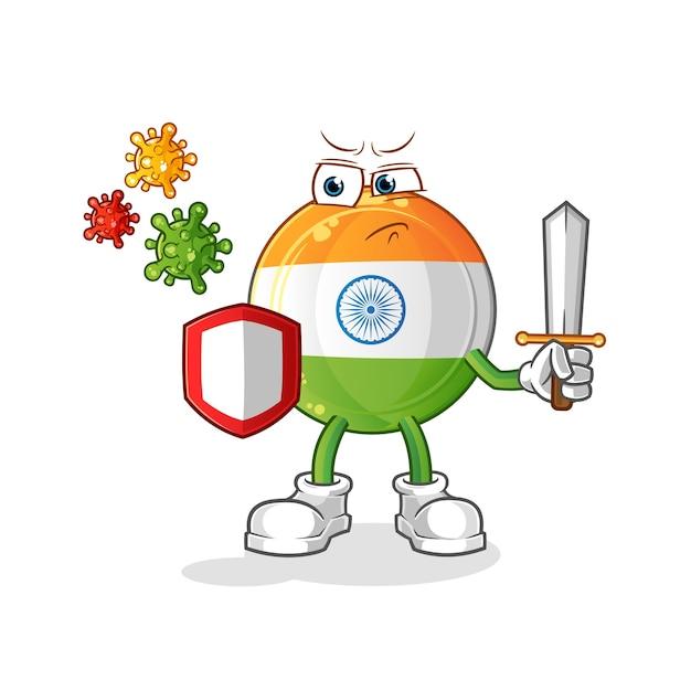 Indisches abzeichenmaskottchen gegen virenkarikatur Premium Vektoren