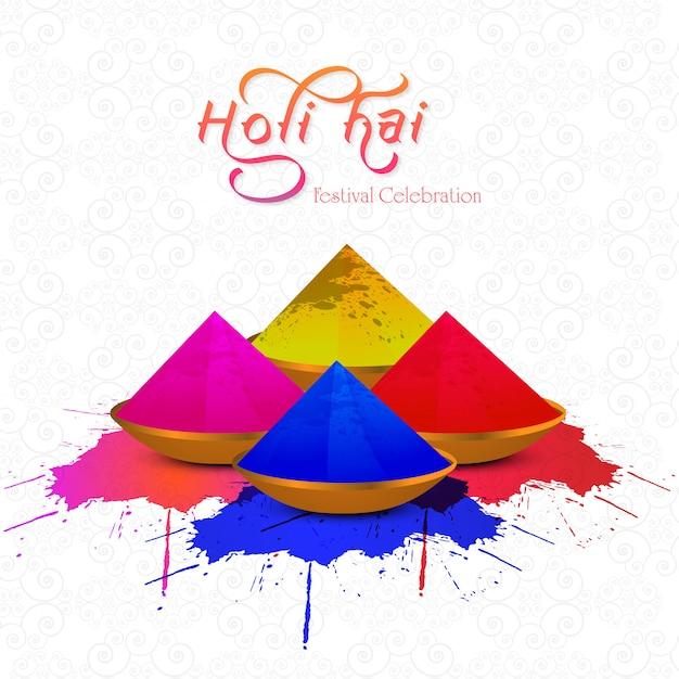 Indisches farbenfest mit gulal happy holi feier Kostenlosen Vektoren