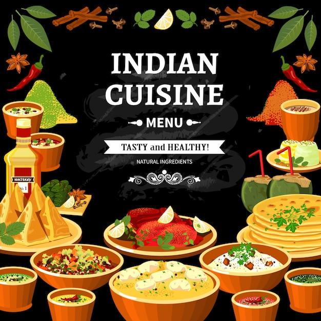 Indisches küche-menü-schwarzes brett-plakat Kostenlosen Vektoren