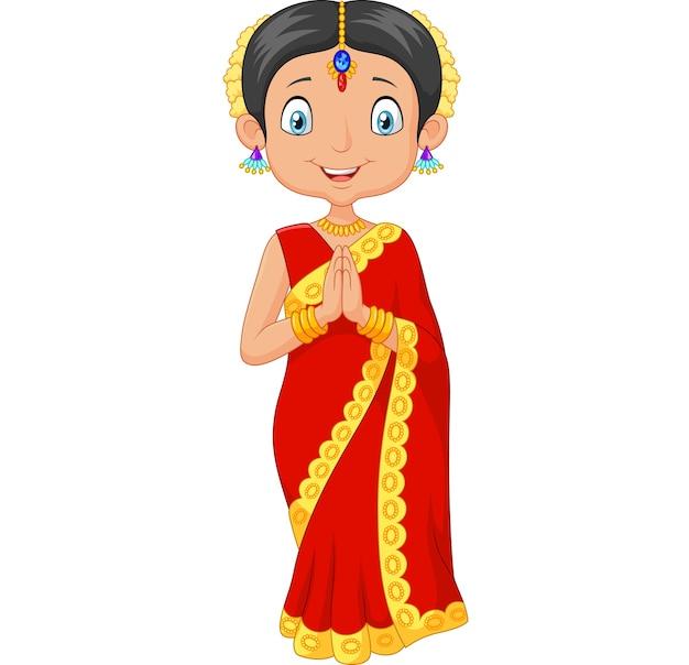 Indisches mädchen der karikatur, das trachtenkleid trägt Premium Vektoren