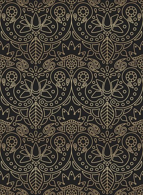 Indisches nahtloses muster mit goldenem farbverlauf der indischen verzierung paisley, lotus und blume auf schwarzem hintergrund Premium Vektoren