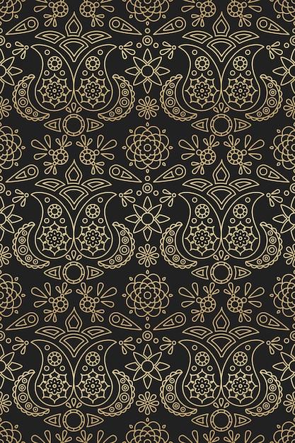 Indisches nahtloses muster mit goldenem farbverlauf von paisley und mandala-ornament auf schwarzem hintergrund Premium Vektoren