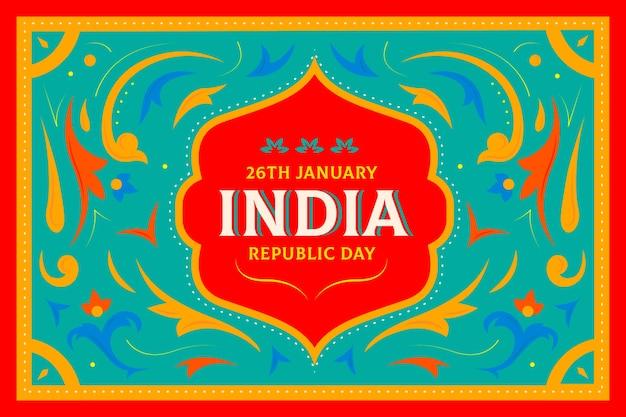 Indisches tag der republik-konzept des flachen designs Kostenlosen Vektoren