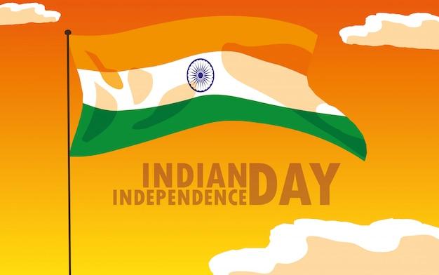 Indisches unabhängigkeitstagplakat mit flagge Premium Vektoren