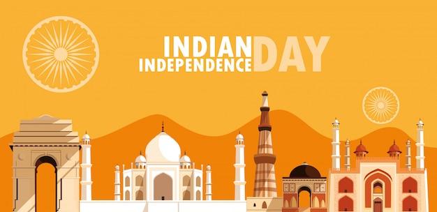 Indisches unabhängigkeitstagplakat mit gruppe gebäuden Premium Vektoren