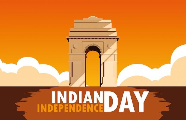 Indisches unabhängigkeitstagplakat mit indien-tor Premium Vektoren