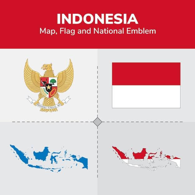 Indonesien karte, flagge und national emblem Premium Vektoren