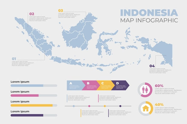 Indonesien karte infografik Premium Vektoren