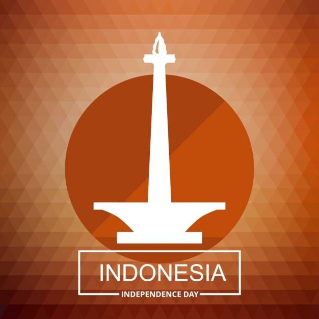 Indonesien land turm mit typografie auf rotem hintergrund Kostenlosen Vektoren