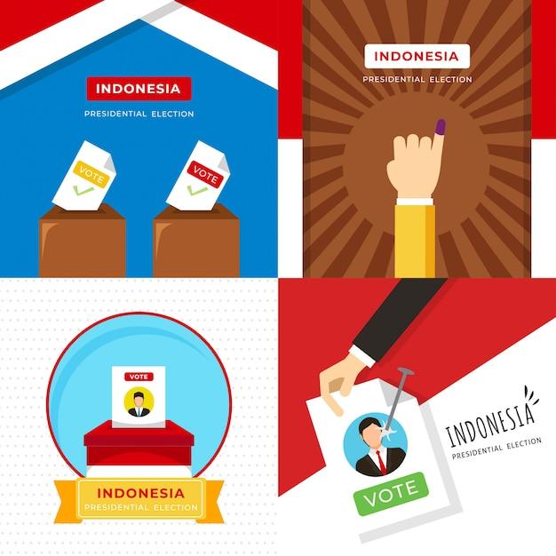 Indonesien präsident wahl illustration Premium Vektoren